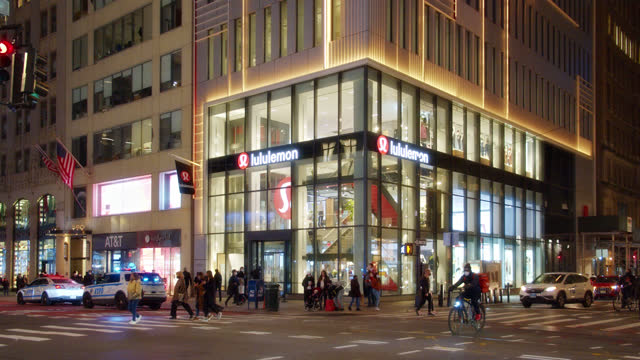 lululemon. store. fifth luxury fashion avenue. manhattan. new york - collection stock videos & royalty-free footage