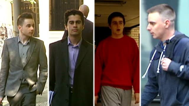 London Southwark Crown Court Ryan Cleary Jake Davis Mustafa alBassam and Ryan Ackroyd arriving at court separately