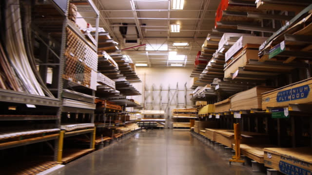 vídeos y material grabado en eventos de stock de ws pov lumber aisle at big box hardware store / palm desert, california, usa - ferreteria