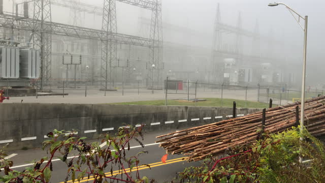 lumber truck drives past tennessee valley authority electricity systems in the dense fog amid the 2020 global coronavirus pandemic, the nuclear power... - tennessee stock videos & royalty-free footage