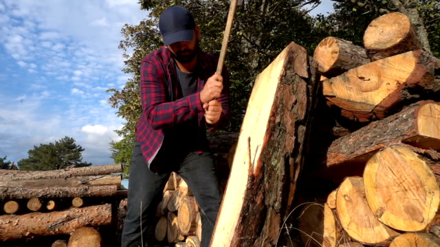 vídeos y material grabado en eventos de stock de leñador cortando troncos madera - camisa a cuadros