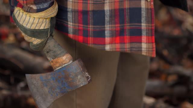 CU of lumberjack holding hatchet