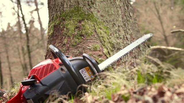 vídeos de stock, filmes e b-roll de hd: madeireiro retirar uma serra de cadeia - serra elétrica
