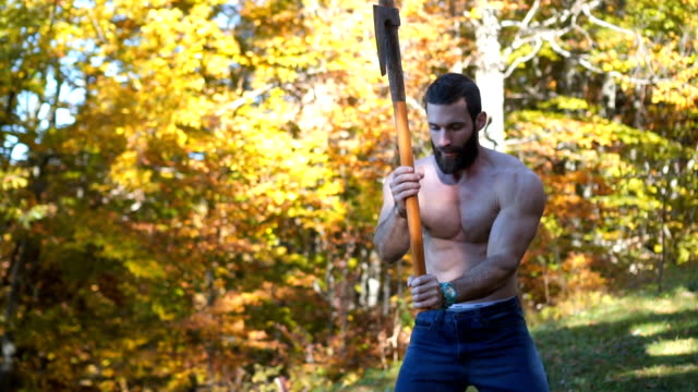 lumberjack use axe for chopping - slow mo - tagliaboschi video stock e b–roll