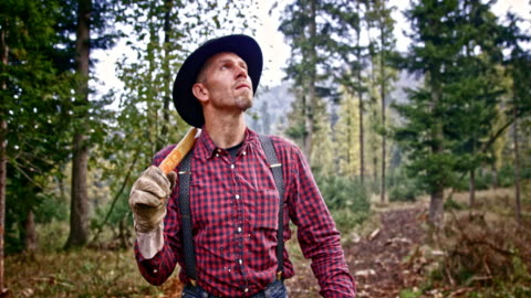 slo mo ds lumberjack walking in forest with an axe - dolly shot stock videos & royalty-free footage