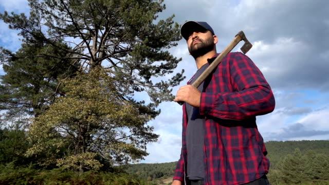 holzfäller mit axt - naturwald stock-videos und b-roll-filmmaterial