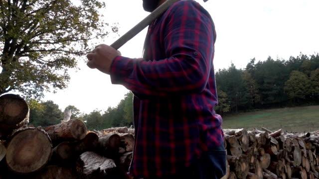 vídeos y material grabado en eventos de stock de leñador con él - camisa a cuadros