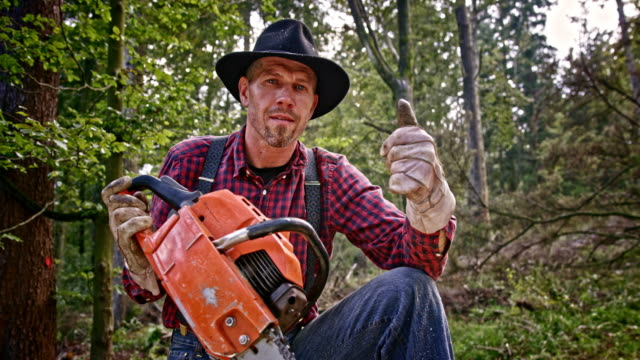 slo mo lumberjack with chainsaw giving thumbs up - tagliaboschi video stock e b–roll