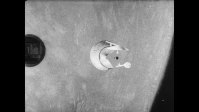 Lunar Orbiter Spacecraft blasts off from the launch pad / goes off into the sky / simulation of the satellite breaking out of its launching equipment...