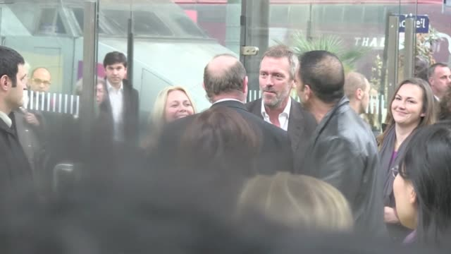 Lunatic most famous doctor actor Hugh Laurie arrived in Paris via Eurostar with a huge smile on his face House looking very relaxed for his music...