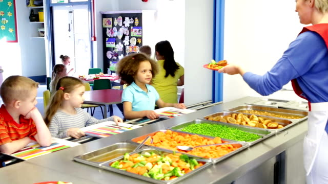 lunch time children - primary age child stock videos and b-roll footage