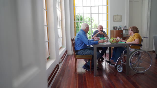 lunch time in nursing home - disability inclusion stock videos & royalty-free footage
