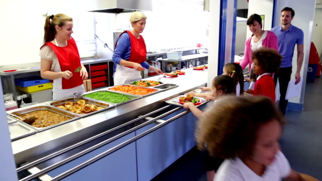 lunch time! - cafeteria worker stock videos and b-roll footage