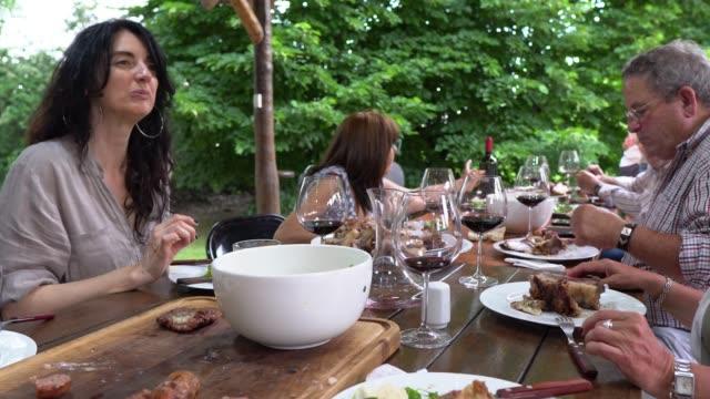 vídeos de stock, filmes e b-roll de almoço com sua família - casa de fazenda