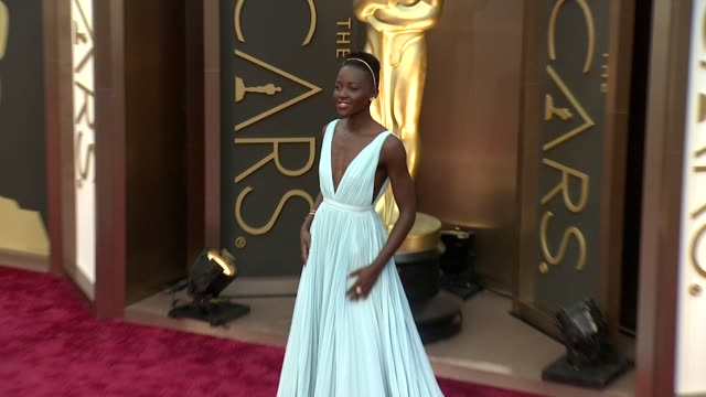 lupita nyong'o - 86th annual academy awards - arrivals at hollywood & highland center on march 02, 2014 in hollywood, california. - academy awards stock videos & royalty-free footage