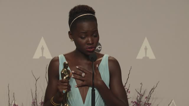 interview lupita nyong'o 86th annual academy awards press room at hollywood highland center on march 02 2014 in hollywood california - lupita nyong'o stock videos and b-roll footage