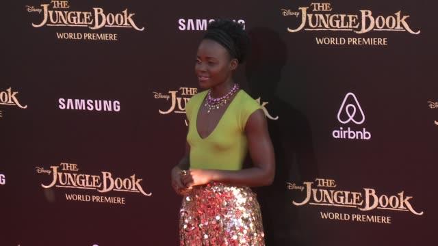 lupita nyong'o at disney's the jungle book los angeles premiere at the el capitan theatre on april 04 2016 in hollywood california - lupita nyong'o stock videos and b-roll footage
