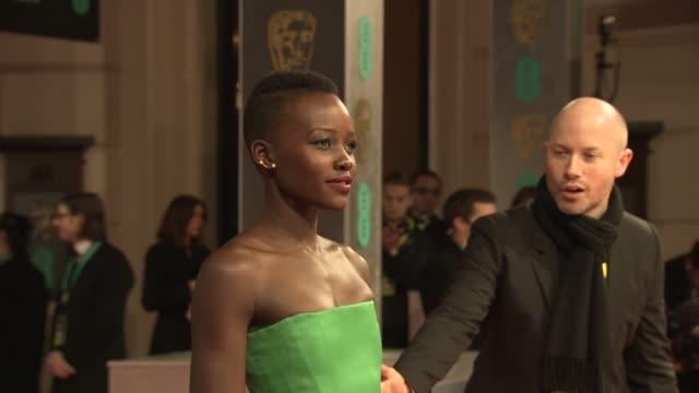 lupita nyong'o at ee british academy film awards at the royal opera house on february 16 2014 in london united kingdom - 英国アカデミー映画賞点の映像素材/bロール
