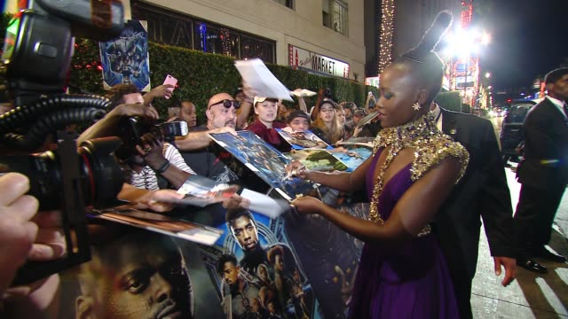 "vídeos de stock, filmes e b-roll de lupita nyong'o at marvel studios' ""black panther"" world premiere in los angeles ca - estreia"