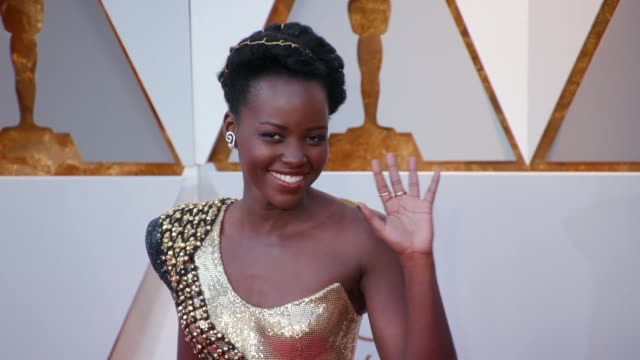 lupita nyong'o at the 90th academy awards arrivals at dolby theatre on march 04 2018 in hollywood california - oscars stock videos & royalty-free footage