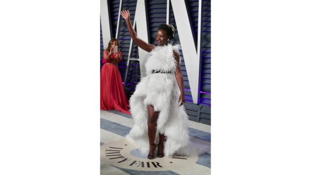 lupita nyong'o attends the 2019 vanity fair oscar party hosted by radhika jones at wallis annenberg center for the performing arts on february 24... - vanity fair stock videos and b-roll footage