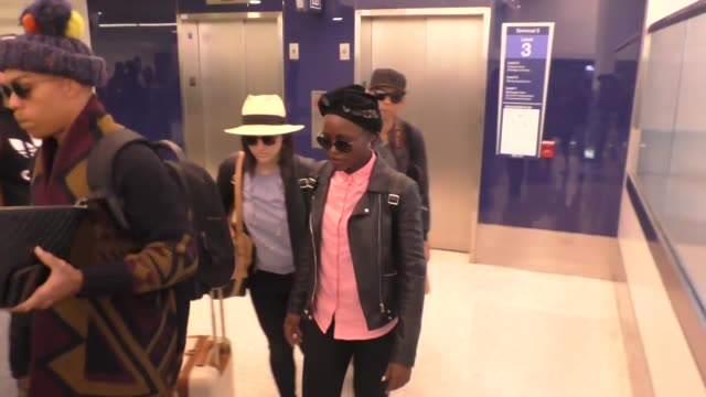 lupita nyong'o departing at lax airport in celebrity sightings in los angeles - lupita nyong'o stock videos and b-roll footage