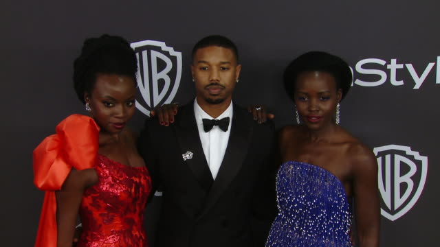 lupita nyong'o michael b jordan and danai gurira at the warner bros and instyle host 20th annual postgolden globes party at the beverly hilton hotel... - danai gurira stock videos and b-roll footage
