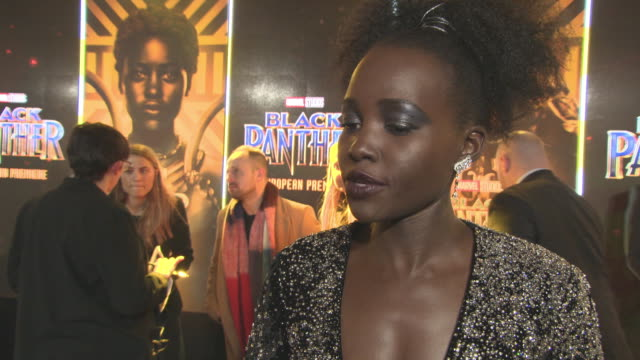 interview lupita nyong'o on how she picks her roles speaking to ryan coogler about the part the themes in the film at 'black panther' european... - ryan coogler stock videos and b-roll footage