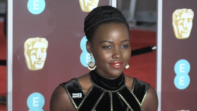 lupita nyong'o on the red carpet of the 2018 bafta award ceremony in london london uk 18th february 2018 - time's up social movement stock videos and b-roll footage