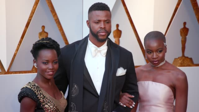 Lupita Nyong'o Winston Duke and Danai Gurira at 90th Academy Awards Arrivals 4K Footage at Dolby Theatre on March 04 2018 in Hollywood California