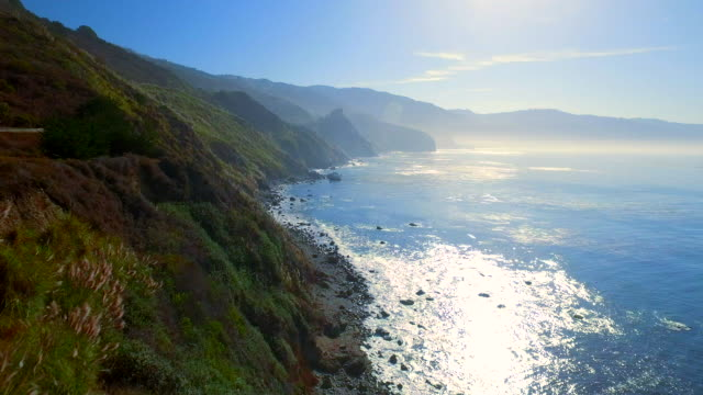 lush big sur coastline aerial - coastline stock videos & royalty-free footage