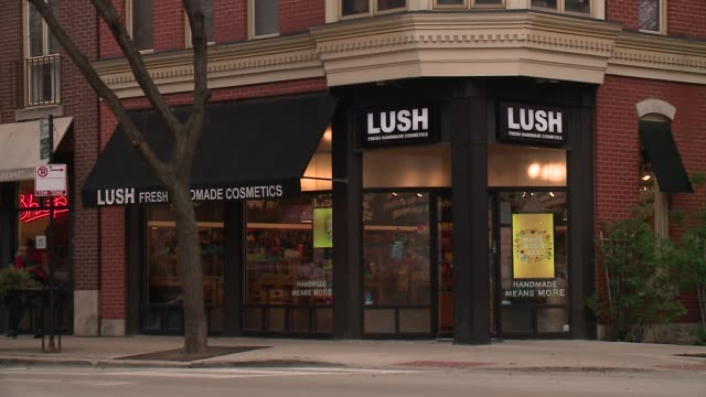 wgn lush cosmetics storefront in chicago on april 29 2016 - lush stock videos & royalty-free footage