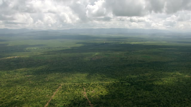 WS AERIAL Lush green landscape / Kenya