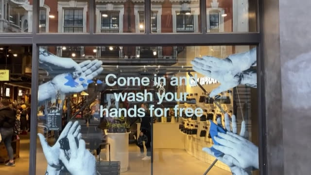 lush offering passersby to come in and wash their hands for free due to coronavirus coventry - lush stock videos & royalty-free footage