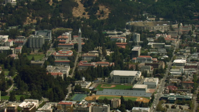 Lush trees surround the buildings on the campus of the University of California, Berkeley.