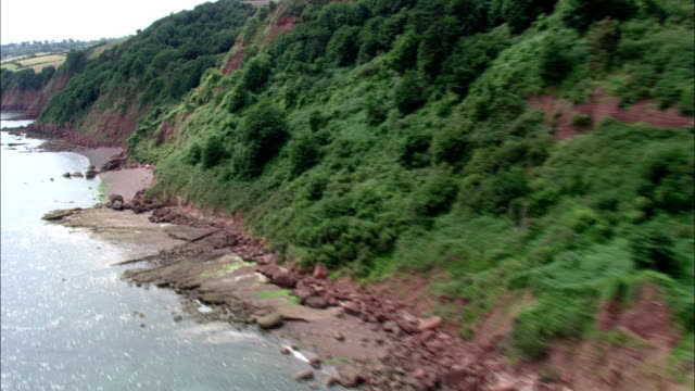 Lush trees top red cliffs on the south coast of England. Available in HD.