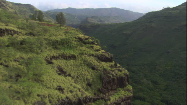 lush vegetation covers a valley in hawaii. available in hd. - hawaii islands stock videos & royalty-free footage