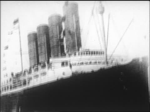 lusitania sailing towards camera / newsreel - passenger craft stock videos & royalty-free footage