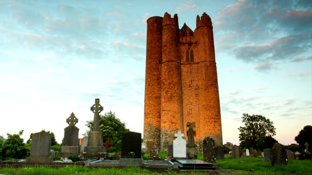lusk round tower, ireland - old ruin stock videos and b-roll footage
