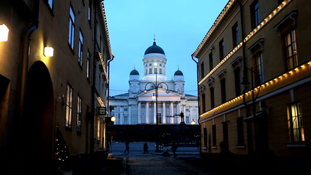 Lutheran Cathedral city buildings illuminated Helsinki