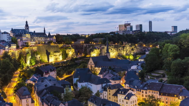 luxembourg at sunset, time lapse - luxembourg benelux stock videos & royalty-free footage