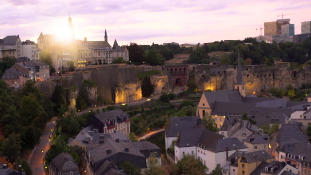 luxembourg at sunset - luxembourg benelux stock videos & royalty-free footage