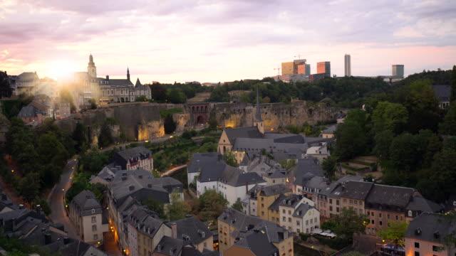 vidéos et rushes de luxembourg au coucher du soleil - grand duché du luxembourg