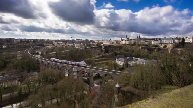 luxembourg city - time lapse - luxembourg benelux stock videos & royalty-free footage