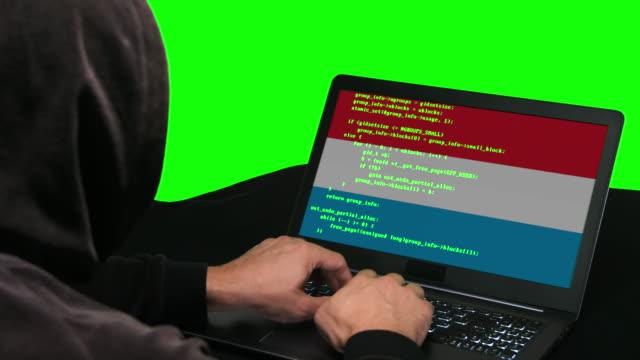 luxemburg hacker typing code hacking auf seinem laptop mit luxemburg-flagge auf dem grünen bildschirm hintergrund - schwarzes hemd stock-videos und b-roll-filmmaterial