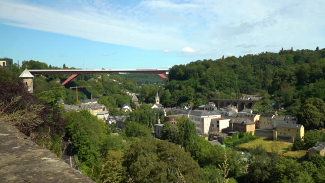 luxembourg kirchberg with bridge - luxembourg benelux stock videos & royalty-free footage
