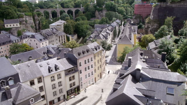luxembourg old town with cloud shadow moving out - luxembourg benelux stock videos & royalty-free footage