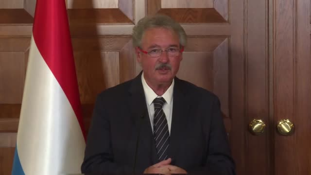 Luxembourgian Foreign and European Affairs Minister Jean Asselborn speaks a joint press conference with Turkish Foreign Minister Mevlut Cavusoglu at...