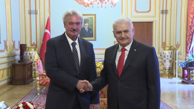 Luxembourgian Foreign and European Affairs Minister Jean Asselborn is received by Turkish Parliament Speaker Binali Yildirim on January 14 2019 in...