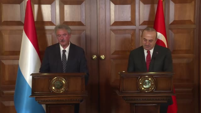 Luxembourgian Foreign and European Affairs Minister Jean Asselborn speaks at a joint press conference with Turkish Foreign Minister Mevlut Cavusoglu...
